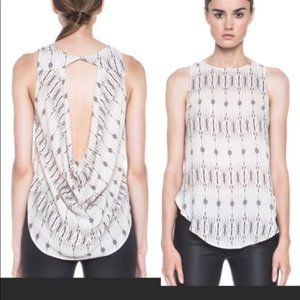 Haute Hippie Silk Top with Cut-out Cowl Back